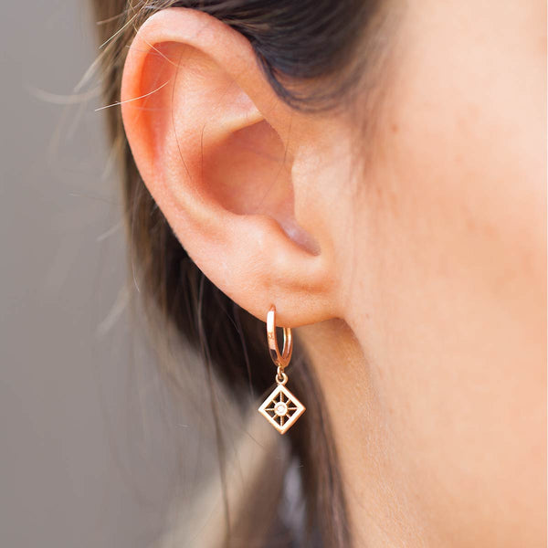 The Star Compass Hoop Huggie Earring