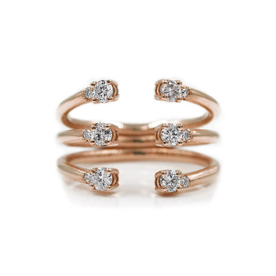 The Ally 14k rose gold diamond ring, white sapphire, open design.