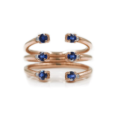 The Ally 14k rosegold diamond ring, blue sapphire, open design.