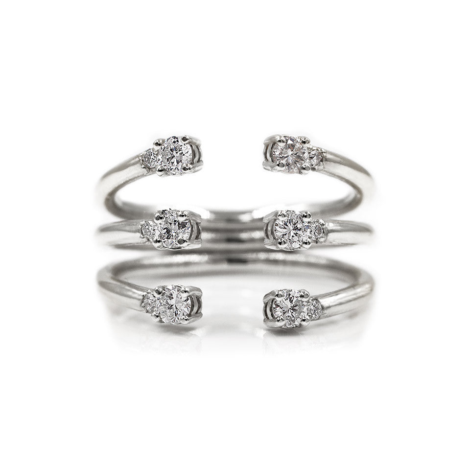 The Ally 14k white gold diamond ring, white sapphire, open design.