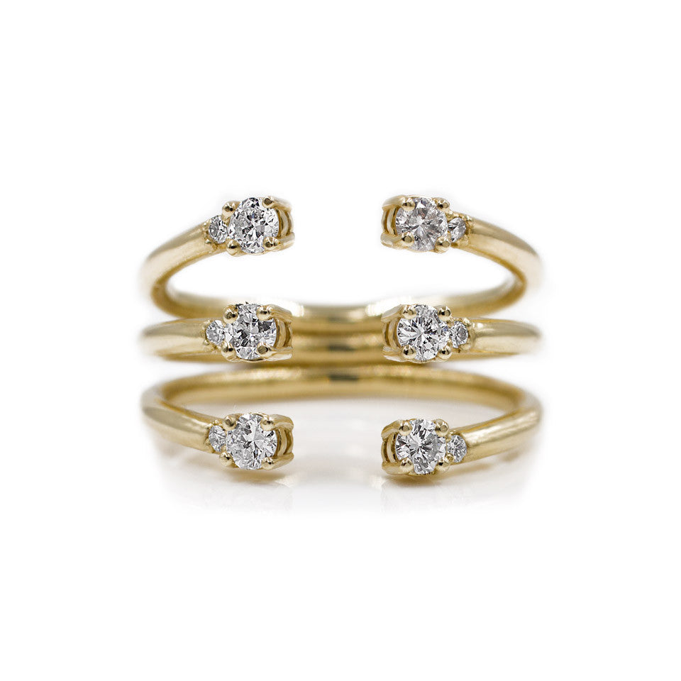 The Ally 14k yellowgold diamond ring, white sapphire, open design.