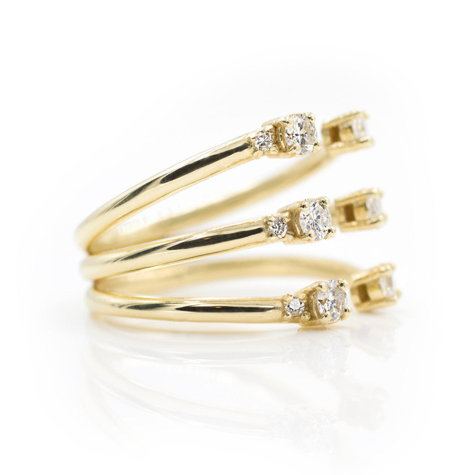 The Ally 14k gold diamond ring, white sapphire, open design. side view
