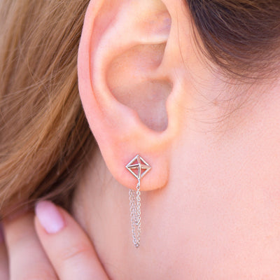 Pyramid Chain Earrings - Giacomelli Jewelry - 3