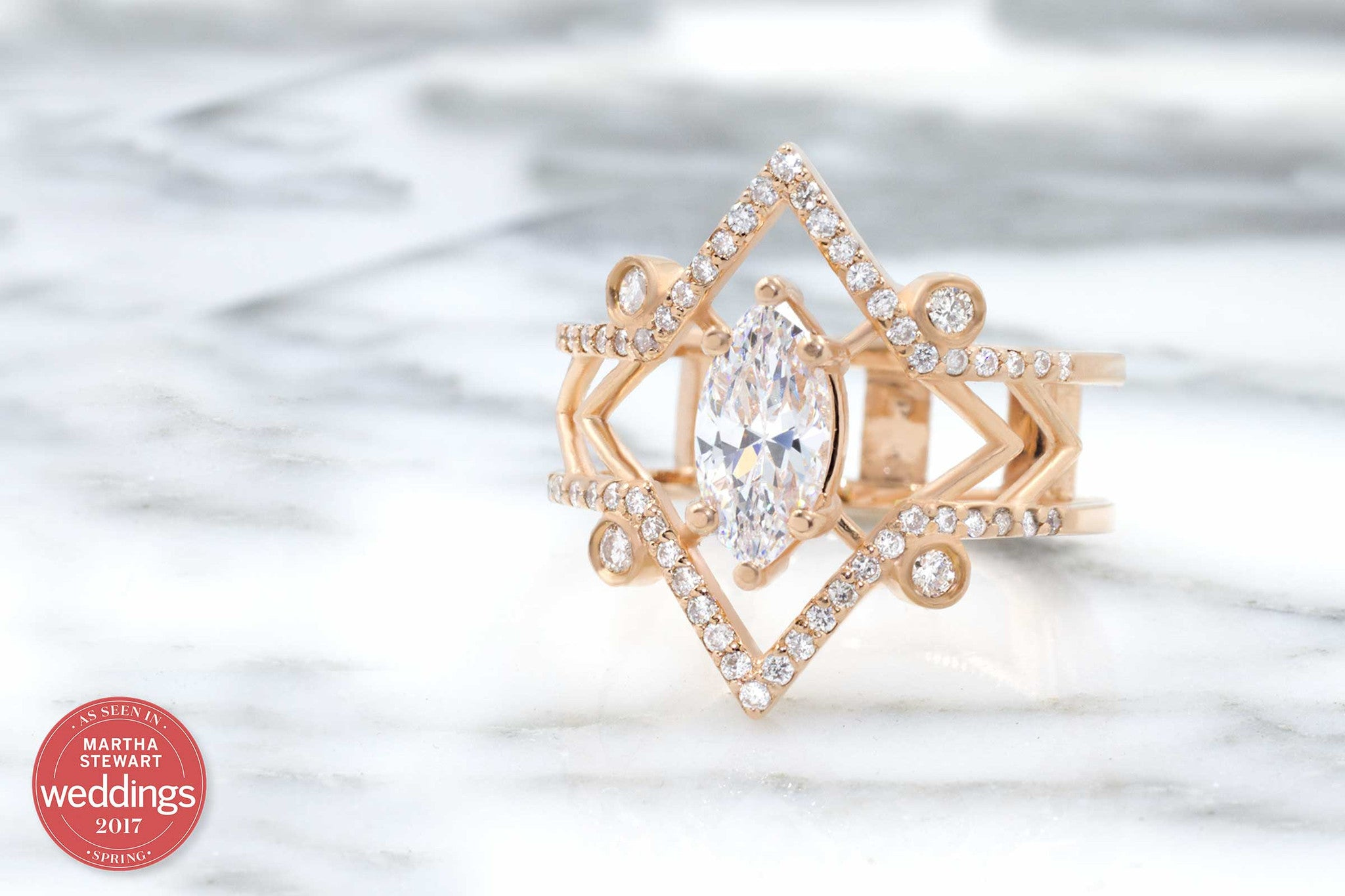 The Arrow Marquise Modern Art Deco Engagement Ring