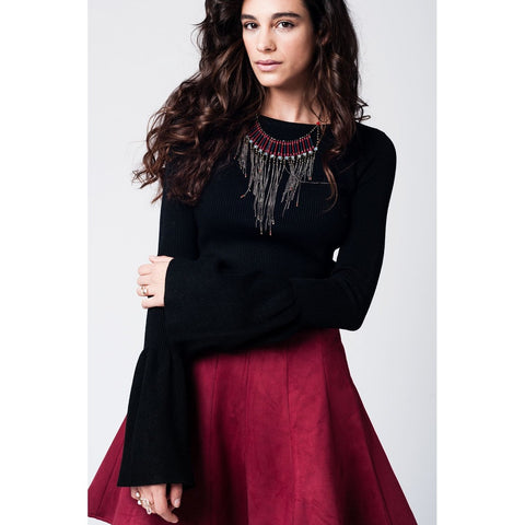 Black knitted sweater with bell slevees