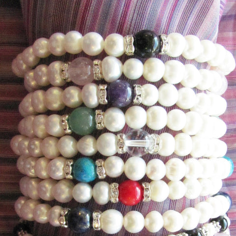 Jolie Pearl, Crystal & Gemstone Stacking Bracelets