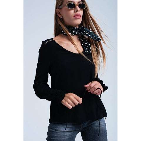 Black flowing blouse