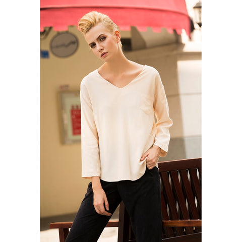 Almond Merginue V Neck Top