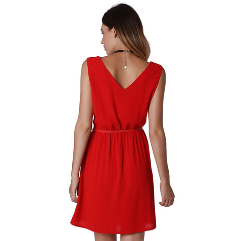 Red textured mini skater dress with belt detail