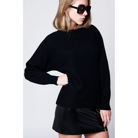 Black sweater with texture detailing