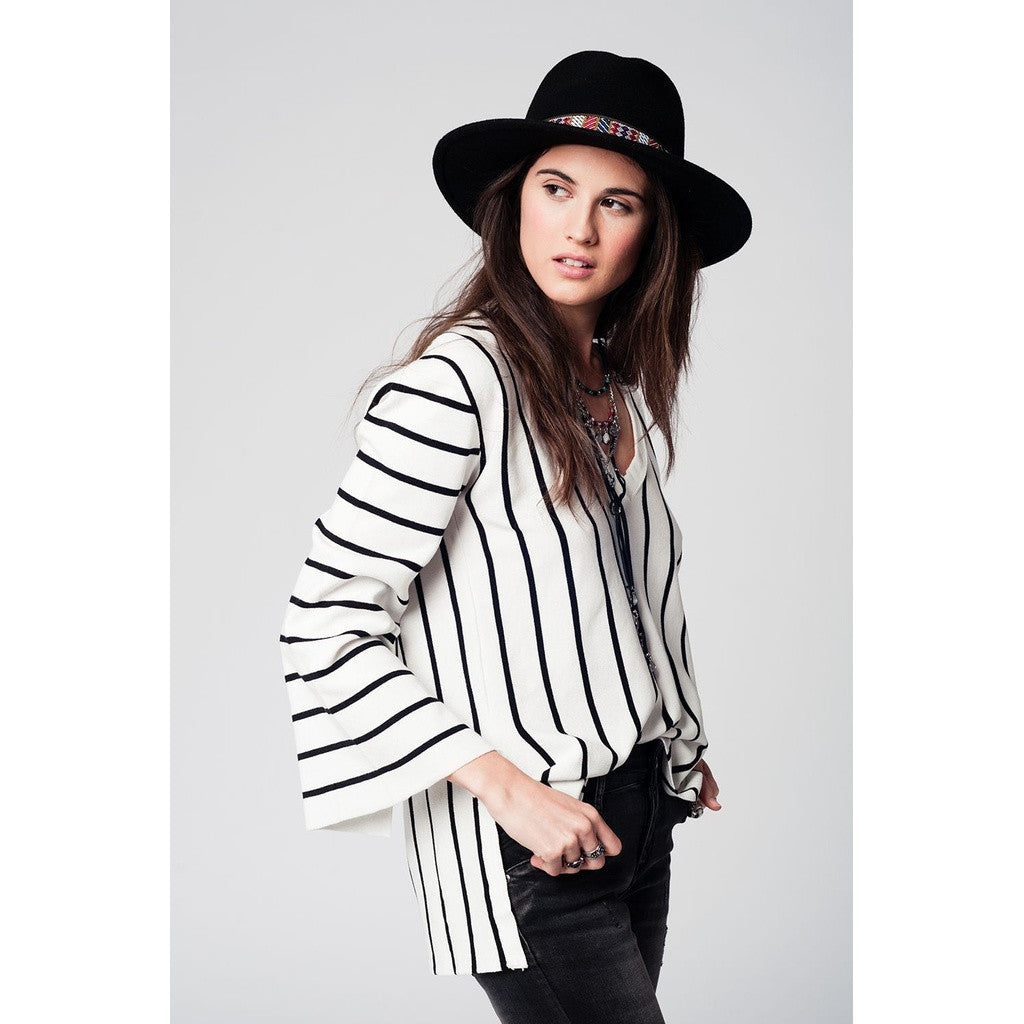Black striped jersey with bell sleeves and slits