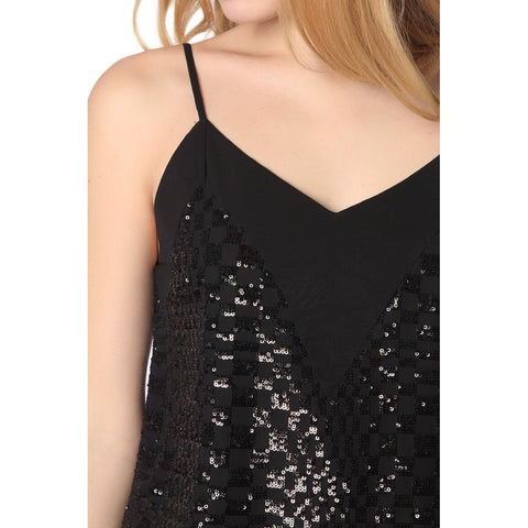 Black cami top with sequin detail