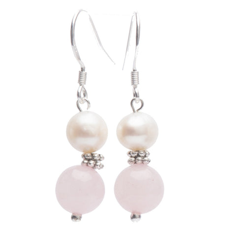 Lana Gemstone, Pearl and Tibetan Silver Earrings