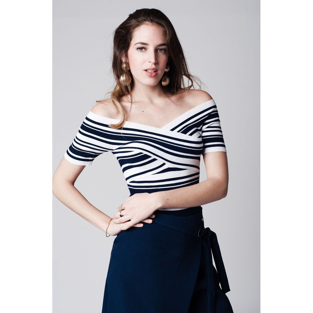 Navy blue stripe crop top with crossover design
