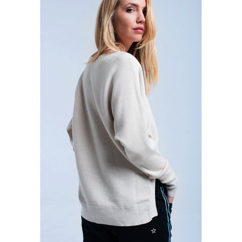 Cream asymmetric ribbed sweater