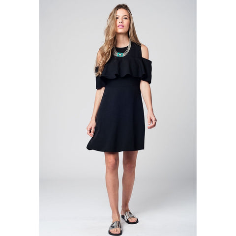 Black midi dress with ruffle detail and off shoulder