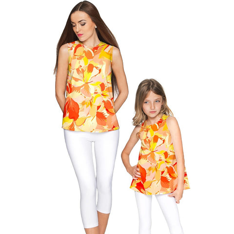 Flaming Hibiscus Emily Sleeveless Dressy Top - Mommy & Me