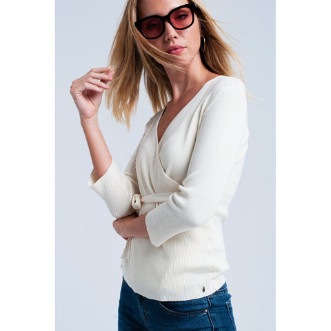 Cream wrap-sweater