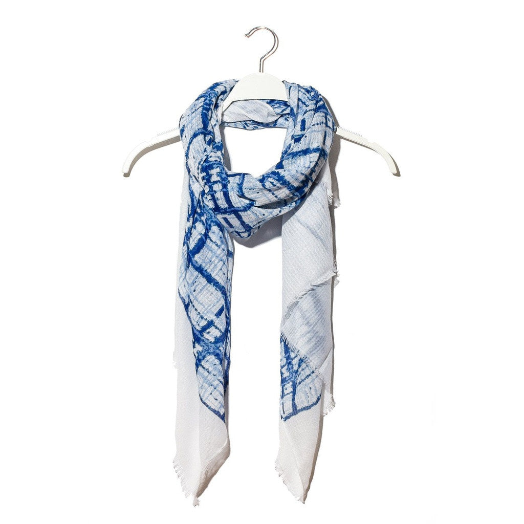 Blue scarf with abstract square print