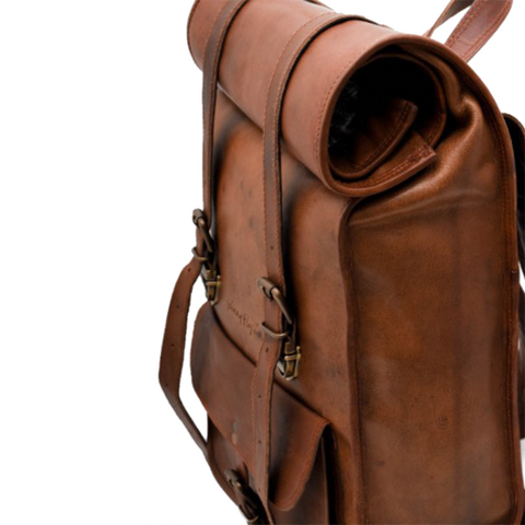 Leather Rolltop Backpack