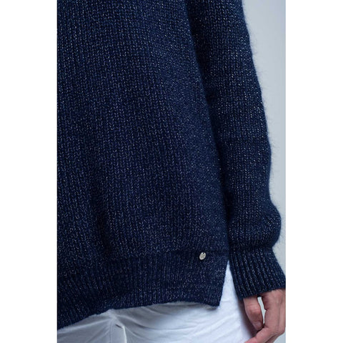 Knitted shiny dark navy sweater