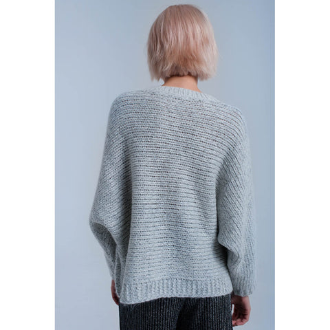 Cable knit gray sweater