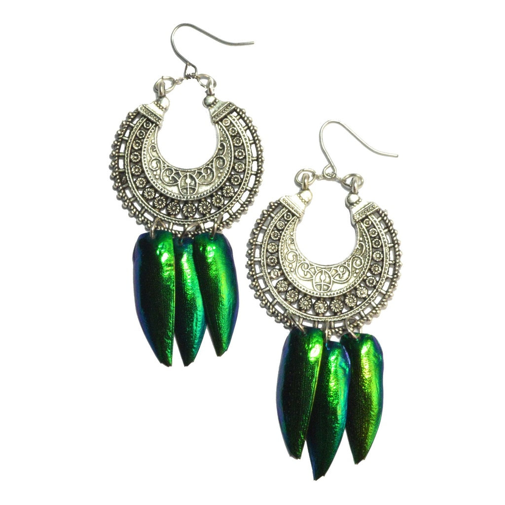 Deva Jewel Wing Tibetan Silver Earrings