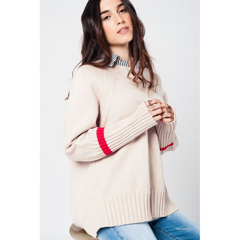 Beige oversized sweater with back slits