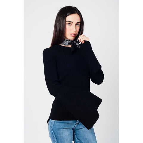 Black knitted sweater with bell sleeves