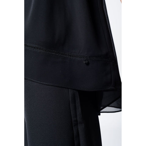 Lightweight black blouse with crossed back