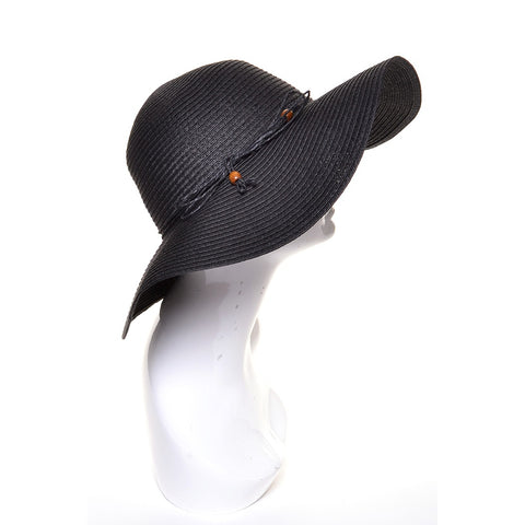 Black Floppy Summer Straw Hat with Beaded Tie