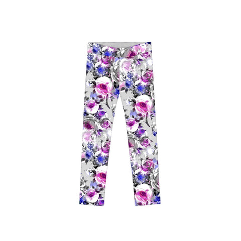 Floral Touch Lucy Cute Grey Floral Printed Leggings - Girls