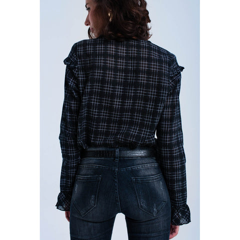 Black checked shirt with ruffle