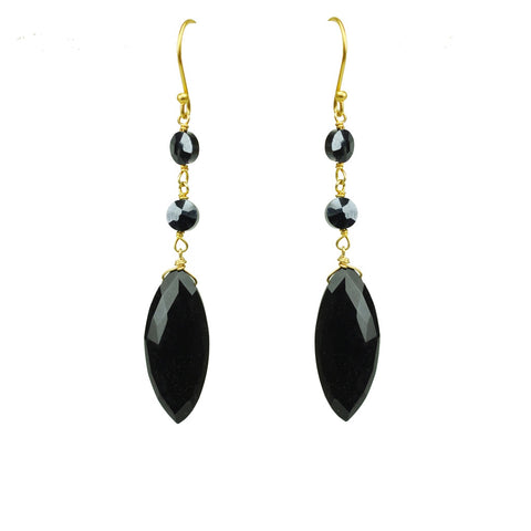 Hyperstein And Onyx Drop Earrings
