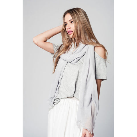 Grey cold shoulder top with short sleeves