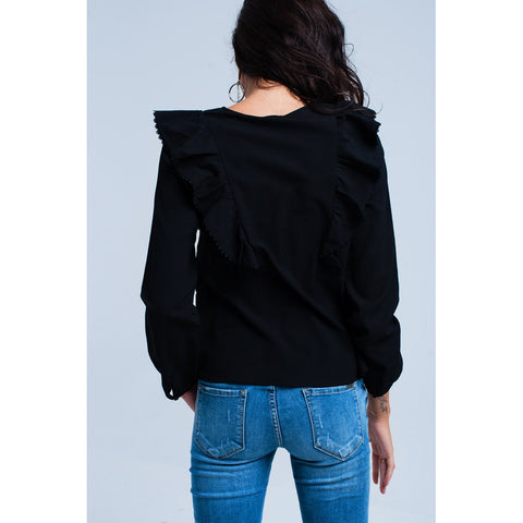 Black crepe blouse
