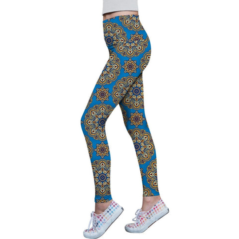Boho Chic Lucy Blue Printed Performance Leggings - Women