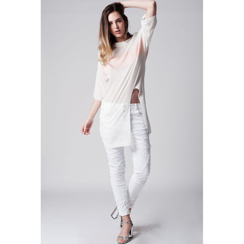 White longline top with contrast stripe and split front