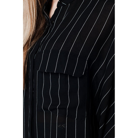 Black stripe long shirt with chest pockets