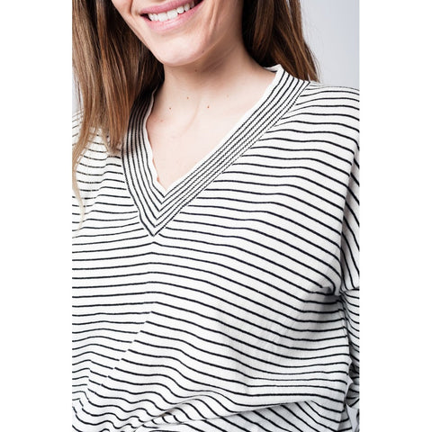 Fine knit black stripe V neck Hi Lo sweater