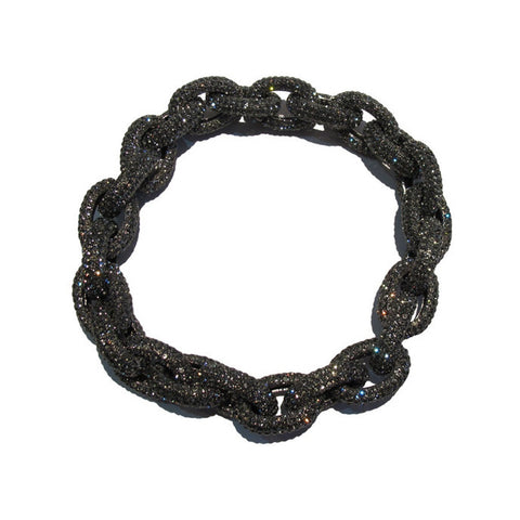 Izoa gunmetal and black diamond chunky link necklace