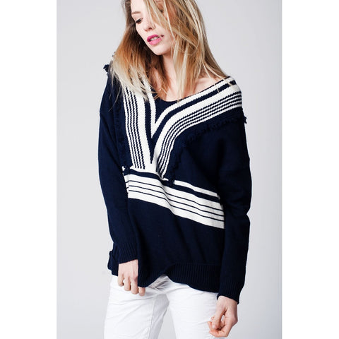 Fringed blue sweater with white stripes
