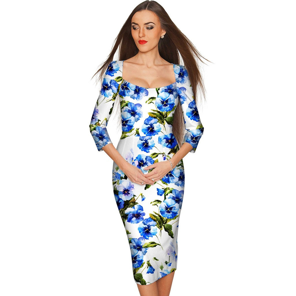 Catch Me Lili White & Blue Floral Bodycon Dress - Women