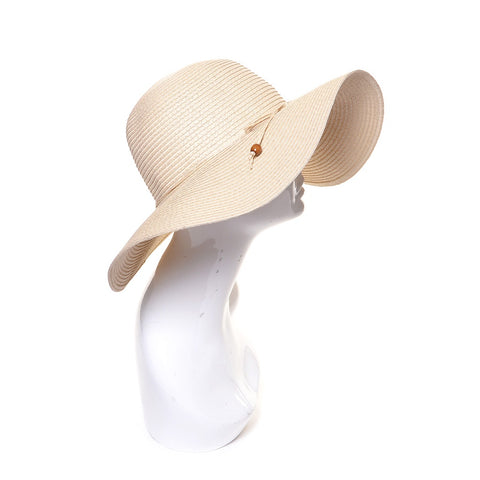 Natural Floppy Summer Straw Hat with Beaded Tie