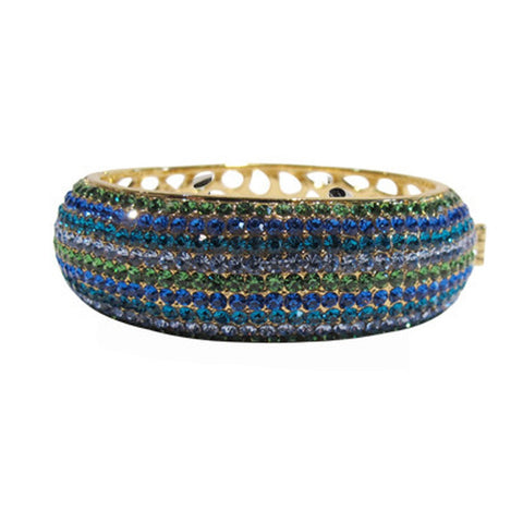 Izoa Gold Blue Nine Row Crystal Bangle