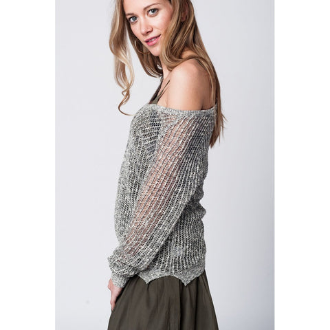 Boat neck grey mesh sweater