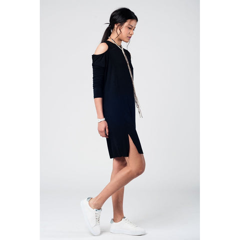 Cold shoulder slouch black dress