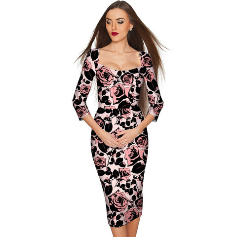 Flirty Girl Lili Cocktail Pencil Pink Floral Dress - Women