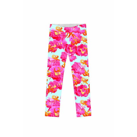 Sweet Illusion Lucy Cute Pink Floral Printed Leggings - Girls