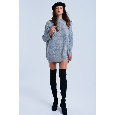 Cable knit gray dress